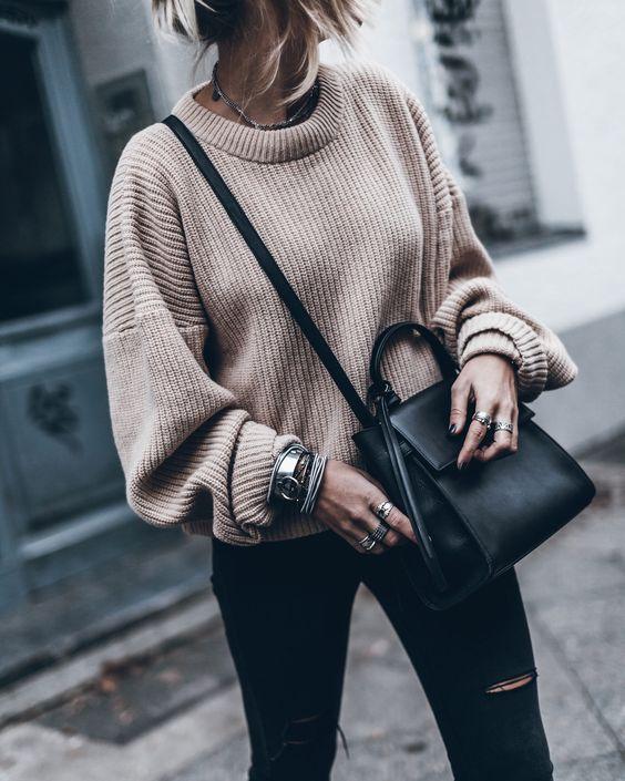 maglione oversize e skinny